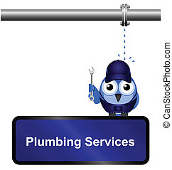 Plumbing Services Sign - Comical Plumbing Services Sign...