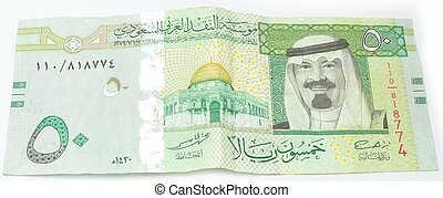 Fifty Saudi Riyals from front Isolated With a white...