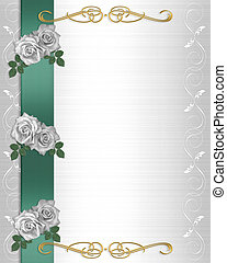 Flowers Border Wedding Invitation - Image and illustration...