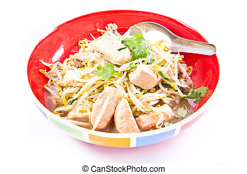 fried bean sprouts mix tofu and pork