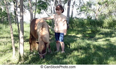 little girl with pony horse