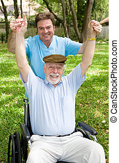 Physical Therapy is Fun - Senior man and his physical...