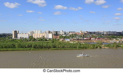 Panorama city of Omsk on the Irtysh River. Russia.