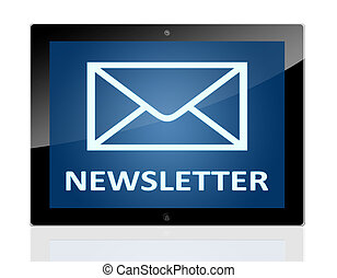 Tablet Newsletter - Tablet PC with a mail symbol and word...