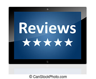 Tablet Reviews - Tablet PC with a star icons and word...