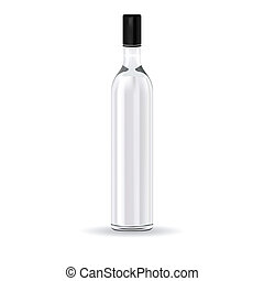 glass bottle with Russian vodka - Vector illustration glass...