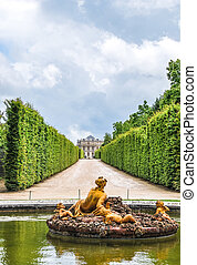 flora fountain in Versailles Palace garden, France - golden...