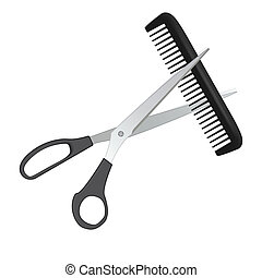 scissors and comb for hair isolated on white - Vector...