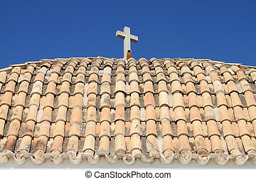 Roof of Church of Santo Domingo in Ibiza Town, Spain