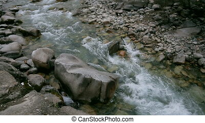 Mountain river and the sound of water - mountain stream and...