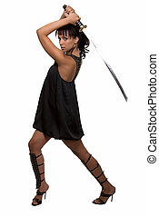 Woman warrior - Full body of an attractive brunette woman...