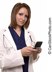 Paging doctor - Attractive brunette young femal doctor...