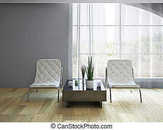 Armchairs near the window - White leather armchairs near the...
