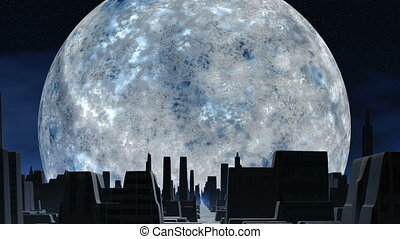 Huge silver moon and city of aliens - The huge silver moon...
