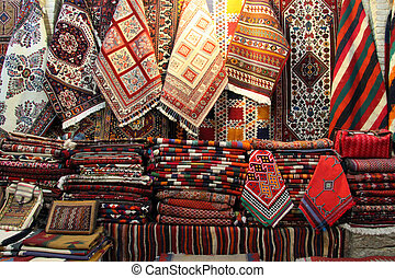 Souvenir shop - Scarfs and carpets in the souvenir shop in...