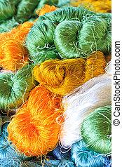 Raw silk thread background