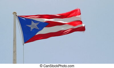 Puerto Rican Flag - Puerto Rican flag blowing in wind, San...
