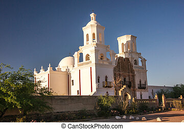 Spanish Mission Near Sunset - The meticulously restored...