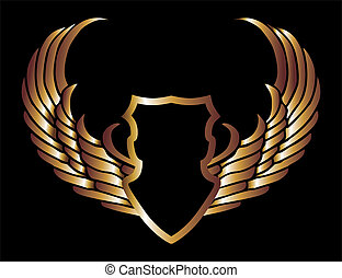 metalic gold wings and shield vector art