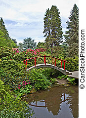 Beautiful Japanese Garden Landscape with Red Bridge - This...