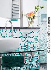 modern wash basin - wash basin on glass desk in modern...