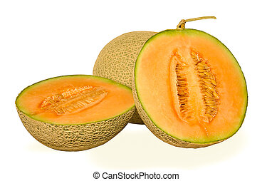 Isolated Cantaloupe Melon - cantaloupe melon isolated on...