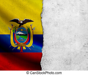 Grunge Ecuador flag with paper frame