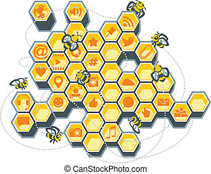 Social Media Bee Hive - Vector Illustration of a honeycomb...