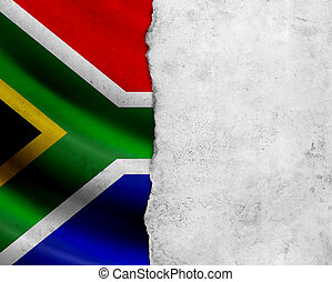 Grunge South Africa flag with paper frame