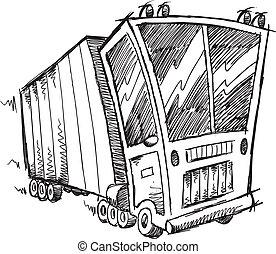 Sketch Doodle Truck Vector art - Sketch Doodle Truck Vector...