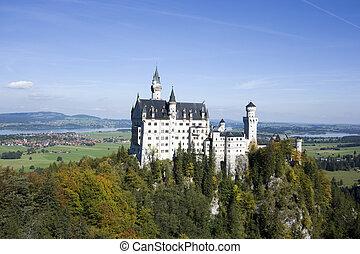 Neuschwanstein castle in autumn, Bavaria, Germany -...