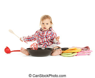 adorable baby cook with pan - bright picture of adorable...
