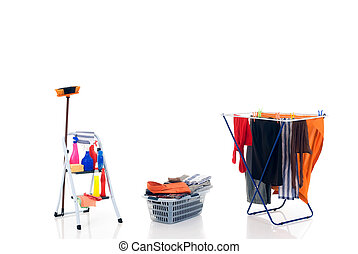 Household, housekeeping - clothesline with washed clothing,...