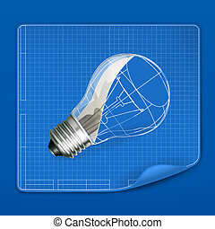 Lamp drawing blueprint, vector