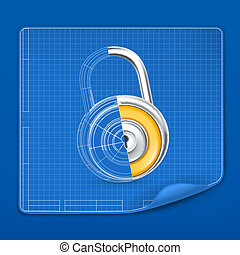 Lock drawing blueprint, vector