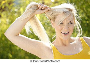 femme, cheveux, blonds, larme, long, cheveux, sourire,...