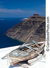 Firostefani Santorini Greece - Boat on a roof at Firostefani...