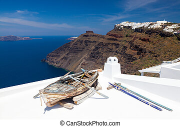Firostefani Santorini Greece - Boat on a roof at Firostefani...