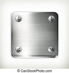 Metal plate with screws, vector