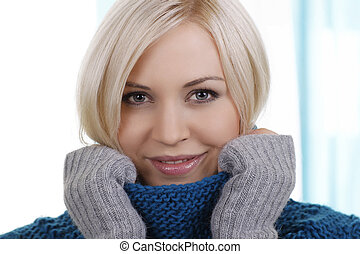 Woman with pullover close up