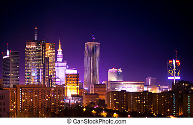Warsaw Poland city at night