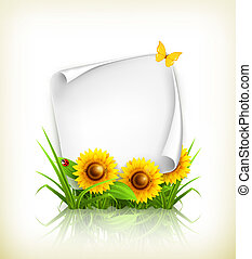 Sunflowers and paper, vector
