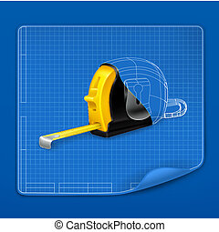 Tape measure drawing blueprint, vector