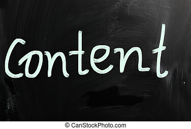 """Content - The word """"Content"""" handwritten with white chalk on..."""