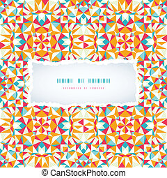 Colorful triangle torn paper frame seamless pattern background