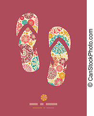 Abstract decorative circles flip flops pattern background -...