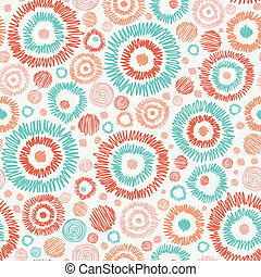 Doodle textured circles seamless pattern background - Vector...