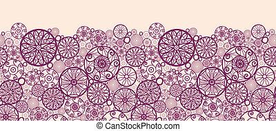 Abstract ornamental circles horizontal seamless pattern border