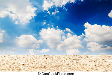 Sand beach with blue sky - Illustration,Sand beach and...