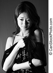 Shy Woman - A black and white photograph of a shy japanese...